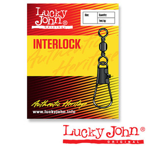Вертлюги c застежкой Lucky John BARREL AND INTERLOCK Black 022 10шт.