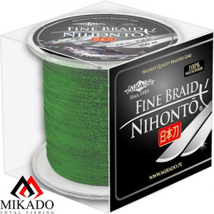 Плетеный шнур Mikado NIHONTO FINE BRAID 0,10 green (300 м) — 7.70 кг. арт.Z20G-010