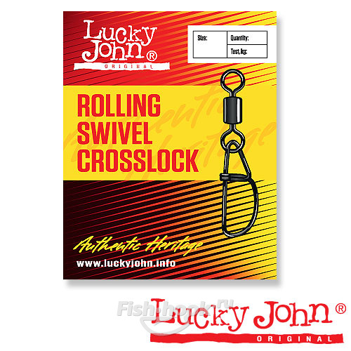 Вертлюги c застежкой Lucky John ROLLING AND CROSSLOCK K001/0 5шт. арт.LJ5057-K010